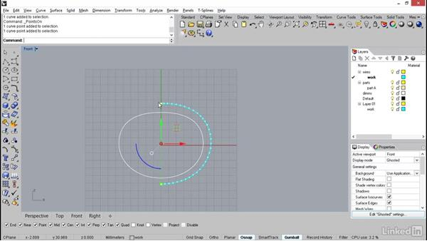 Importing the bracelet curve and building the side profile: Rhino: Learn Basic Jewelry Modeling