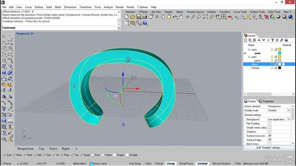 Offsetting the inner surface to create the cuff: Rhino: Learn Basic Jewelry Modeling