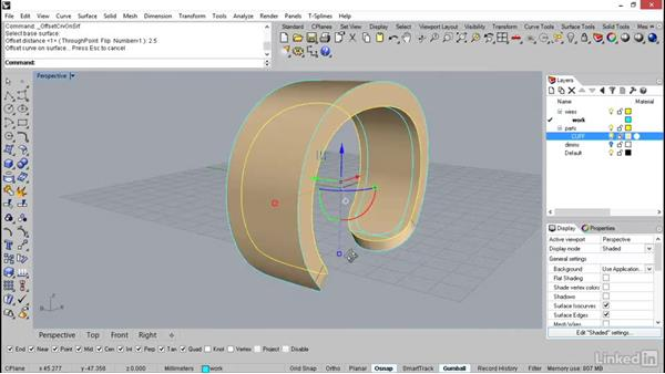 Creating the thickness for the cuff: Rhino: Learn Basic Jewelry Modeling