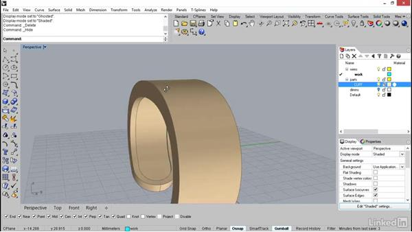 Using offset to build up the edges of the cuff: Rhino: Learn Basic Jewelry Modeling