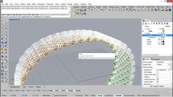 Offsetting the surface to establish the enamel floors: Rhino: Learn Basic Jewelry Modeling