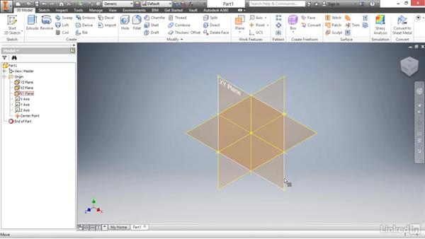 Working with origin geometry: Autodesk Inventor 2017 Essential Training