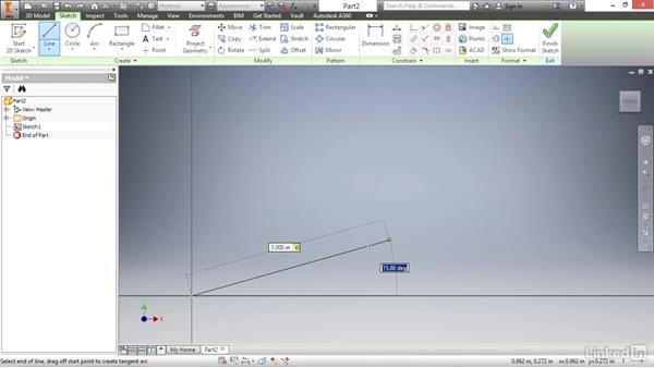 Drawing lines: Autodesk Inventor 2017 Essential Training
