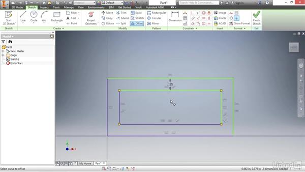 Offsetting sketch geometry: Autodesk Inventor 2017 Essential Training