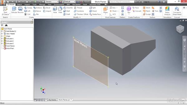 Creating offset work planes: Autodesk Inventor 2017 Essential Training