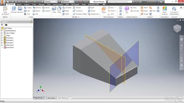 Creating work axes and points: Autodesk Inventor 2017 Essential Training