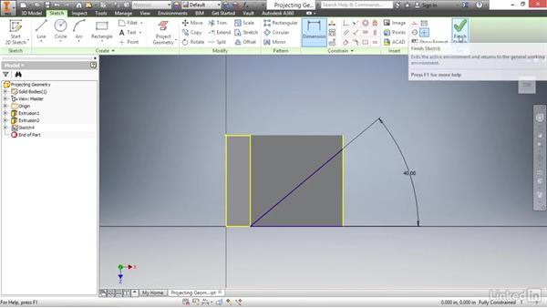Projecting geometry: Autodesk Inventor 2017 Essential Training