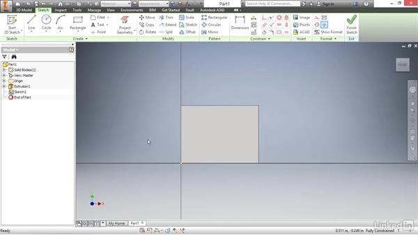 Creating a base extrusion feature: Autodesk Inventor 2017 Essential Training