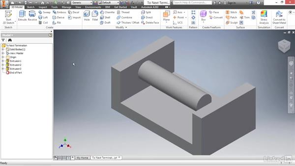 Creating an extrusion to next face: Autodesk Inventor 2017 Essential Training