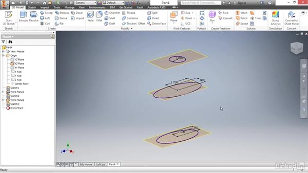 Creating complex shapes with the loft tool: Autodesk Inventor 2017 Essential Training