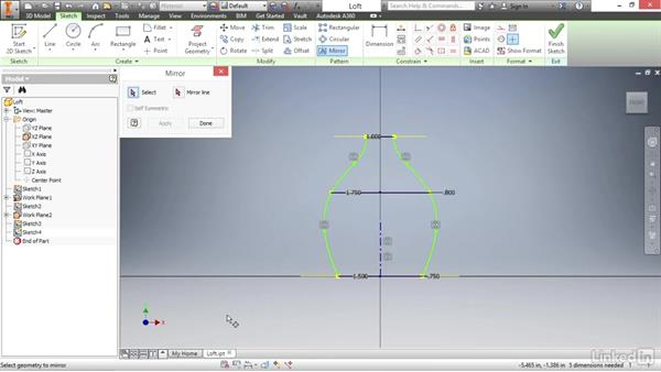 Adding control to a loft by creating rails: Autodesk Inventor 2017 Essential Training
