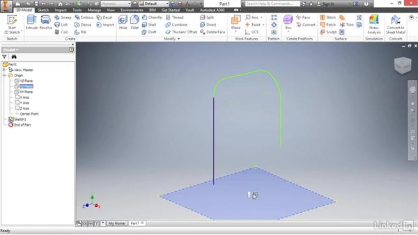 Creating a sweep feature: Autodesk Inventor 2017 Essential Training
