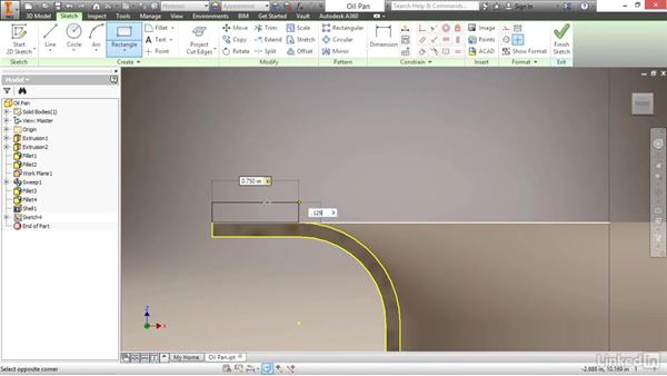 Creating a sweep feature with model edges: Autodesk Inventor 2017 Essential Training