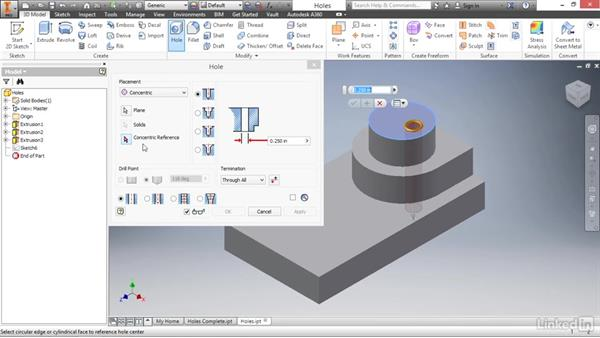 Adding placed holes: Autodesk Inventor 2017 Essential Training