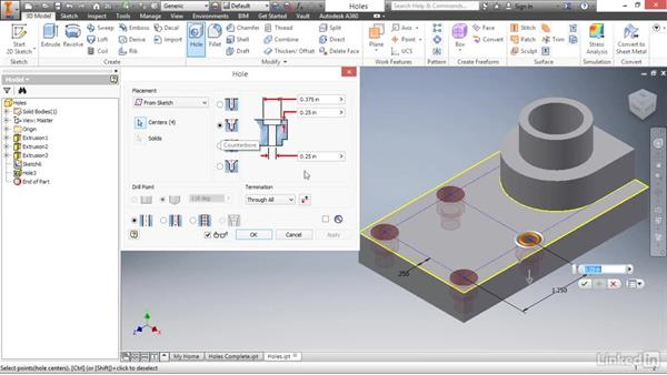 Adding sketched holes: Autodesk Inventor 2017 Essential Training