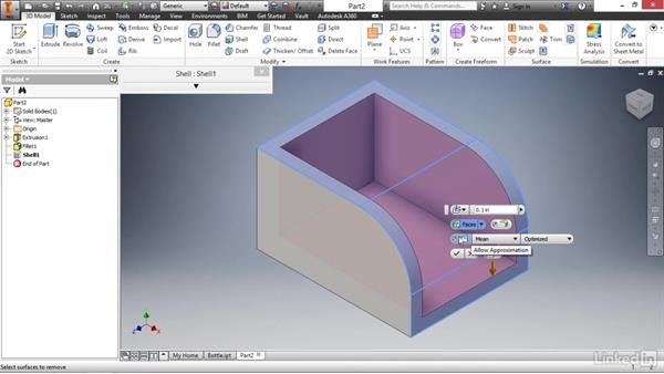 Hollowing parts with the shell feature: Autodesk Inventor 2017 Essential Training