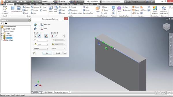 Creating rectangular feature patterns: Autodesk Inventor 2017 Essential Training