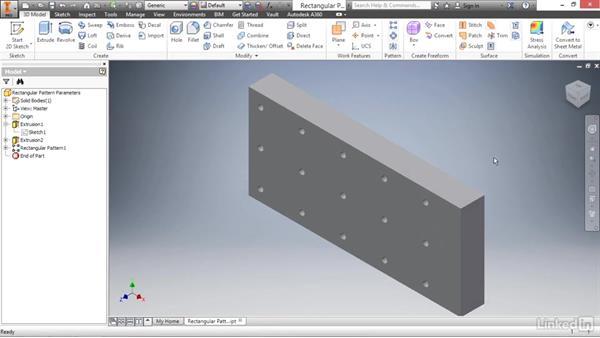 Adding intelligence to a rectangular pattern: Autodesk Inventor 2017 Essential Training