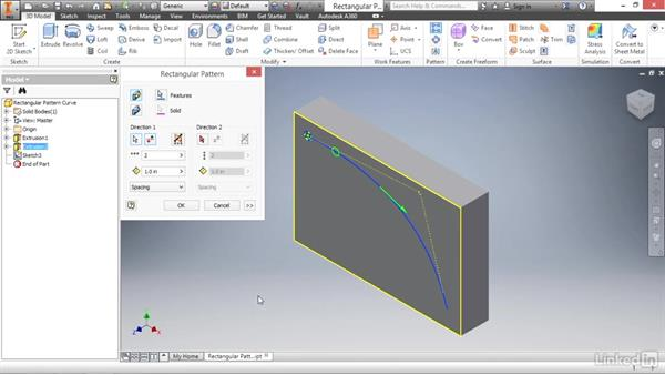 Creating rectangular feature patterns along a path: Autodesk Inventor 2017 Essential Training