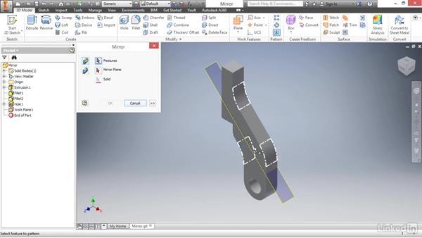 Mirroring part features: Autodesk Inventor 2017 Essential Training