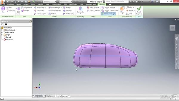 Inserting and modifying edges: Autodesk Inventor 2017 Essential Training