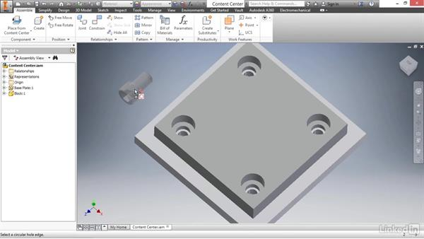 Placing fasteners from the content center: Autodesk Inventor 2017 Essential Training