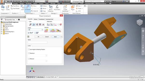 Angle constraint: Autodesk Inventor 2017 Essential Training