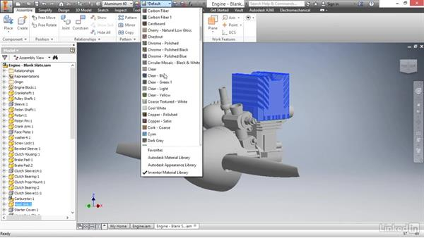 Adding materials to parts in an assembly: Autodesk Inventor 2017 Essential Training