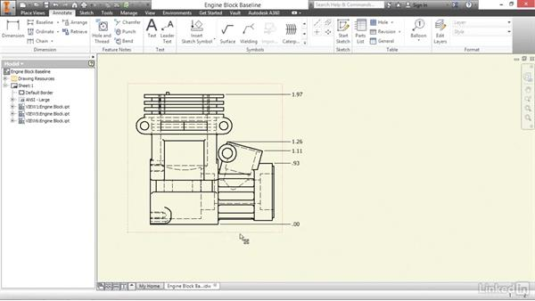 Creating baseline, ordinate, and chain dimensions: Autodesk Inventor 2017 Essential Training