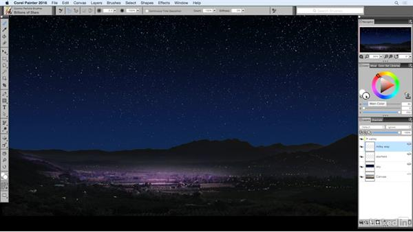 Painting the Milky Way: Painting with Particle Brushes in Painter