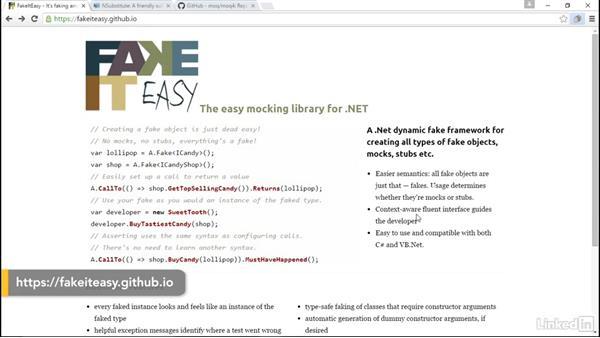 Mocking frameworks (Moq, NSubstitute, and FakeItEasy): C# Test Driven Development