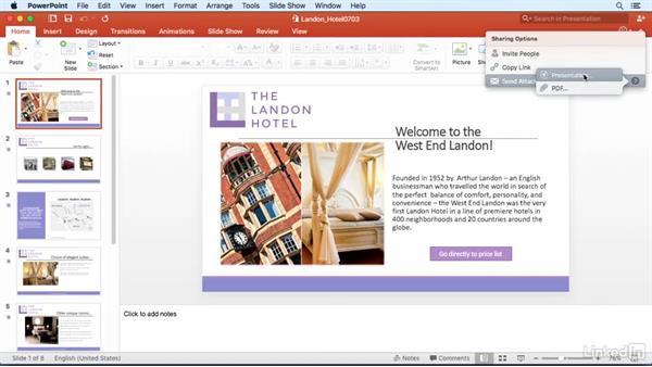 Send a presentation as a PDF: PowerPoint for Mac 2016 Power Shortcuts