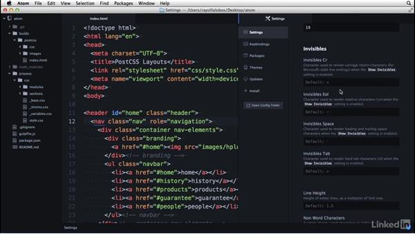 Modifying your preferences: Learn Atom: The Basics