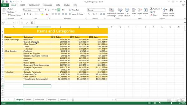 Format cells using merge and align options: Excel 2013: Prepare for the Microsoft Office Specialist Certification Exam (77-420)