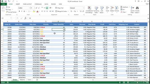 Apply conditional formatting: Excel 2013: Prepare for the Microsoft Office Specialist Certification Exam (77-420)