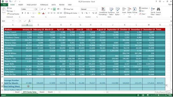 Summarize data using functions: Excel 2013: Prepare for the Microsoft Office Specialist Certification Exam (77-420)