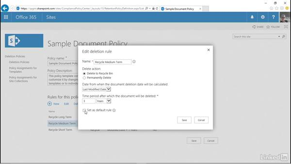 Create and modify deletion policies: SharePoint 2016 and SharePoint Online New Features