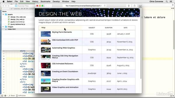 Preparing the HTML file: Design the Web: Creating a Sortable Table