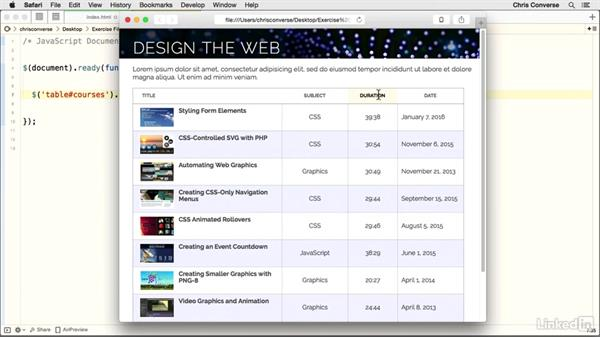 Activating the plugin: Design the Web: Creating a Sortable Table