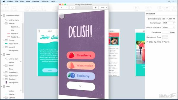 Basic transitions and gestures: UX Design Tools: Flinto for Mac