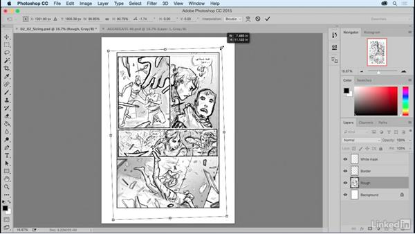 Sizing artwork and arranging layers: Comic Book Digital Inking and Refinement