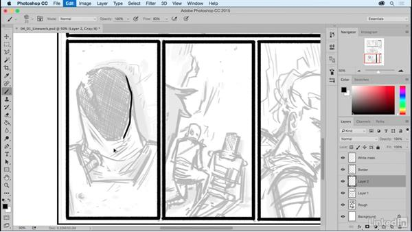 Initial linework: Comic Book Digital Inking and Refinement