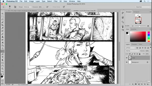 Inking on top of a pencil rough: Comic Book Digital Inking and Refinement