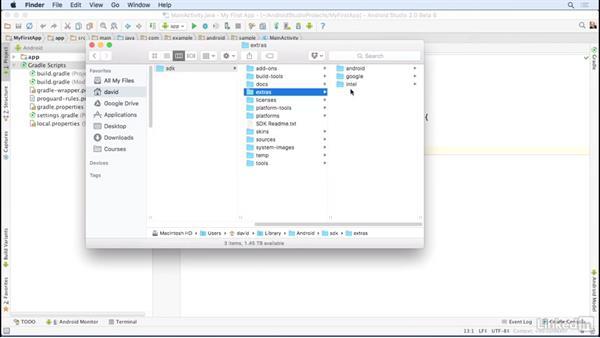 Install Intel HAXM software: Android Studio Essential Training