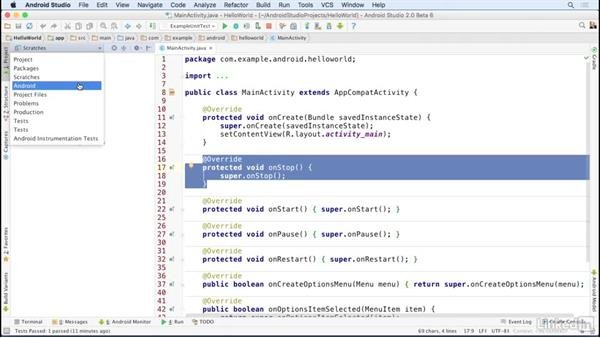 Explore the project window: Android Studio Essential Training