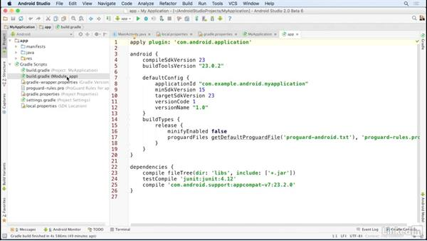 Gradle and other configuration files: Android Studio Essential Training