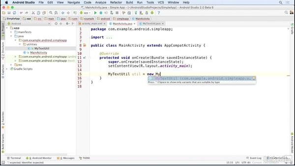 Useful code editing shortcuts: Android Studio Essential Training