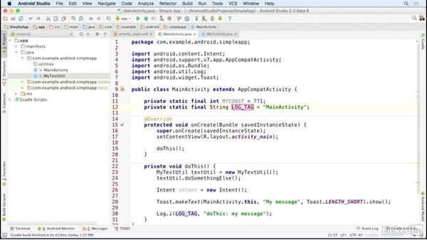 Create and use live templates: Android Studio Essential Training