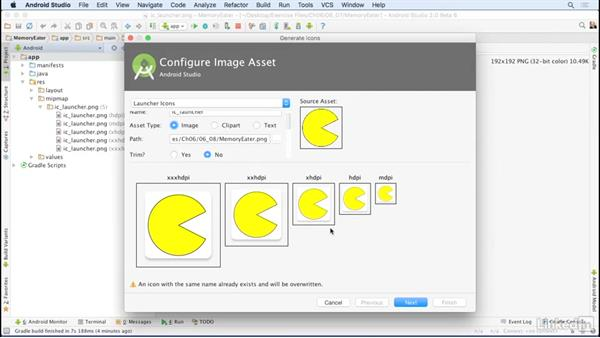 Convert graphics to image assets: Android Studio Essential Training