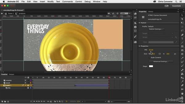 Masking and animating the first two products: Creating an HTML5 Banner Ad with Animate CC